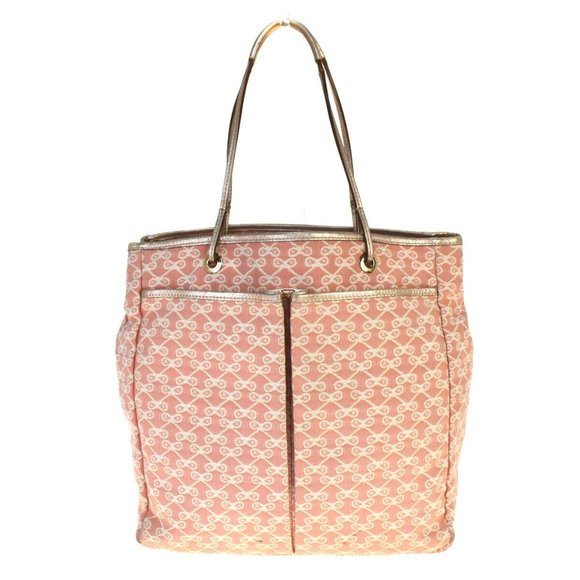 Anya Hindmarch Canvas,Leather Tote Bag Pink